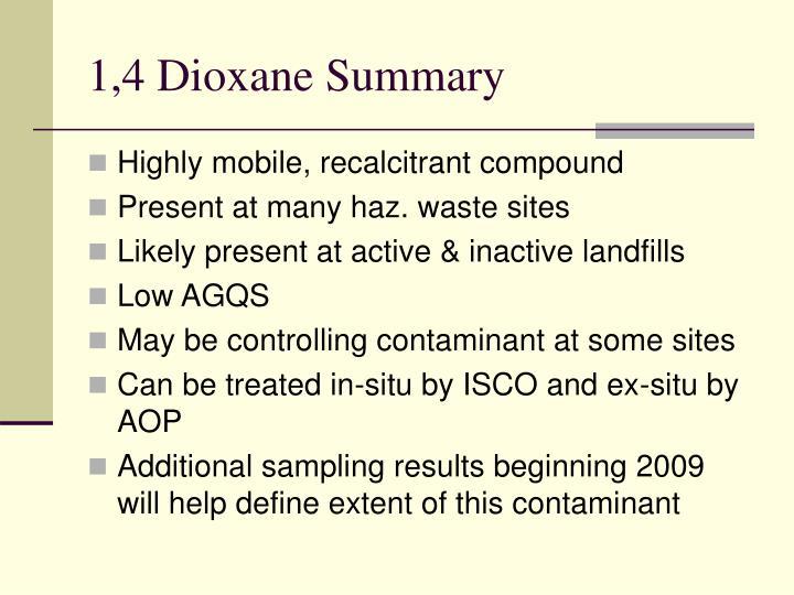 1,4 Dioxane Summary