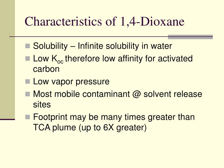Characteristics of 1,4-Dioxane