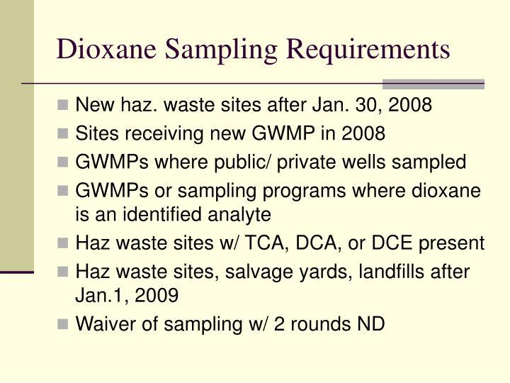 Dioxane Sampling Requirements