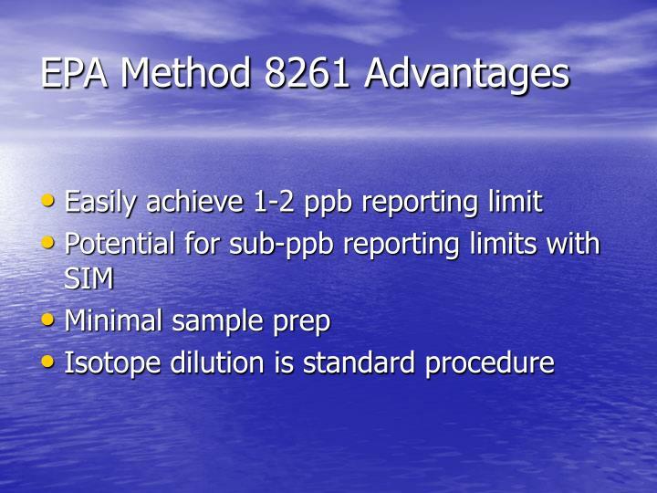 EPA Method 8261 Advantages