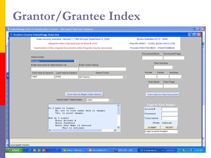 Grantor/Grantee Index