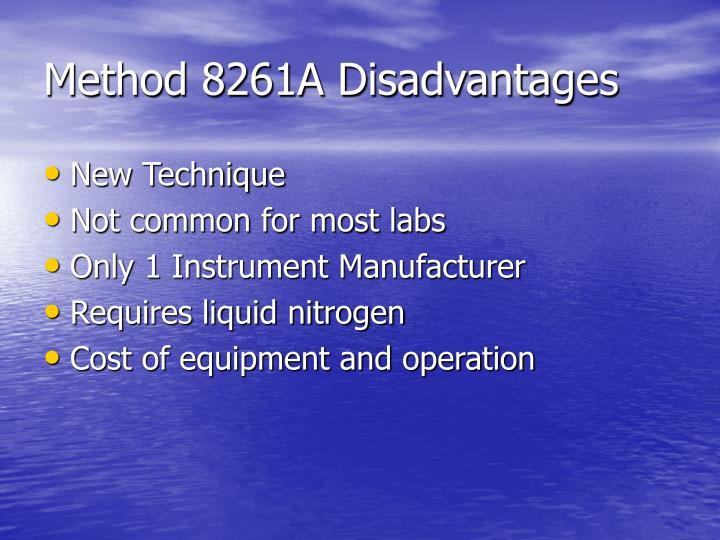 Method 8261A Disadvantages
