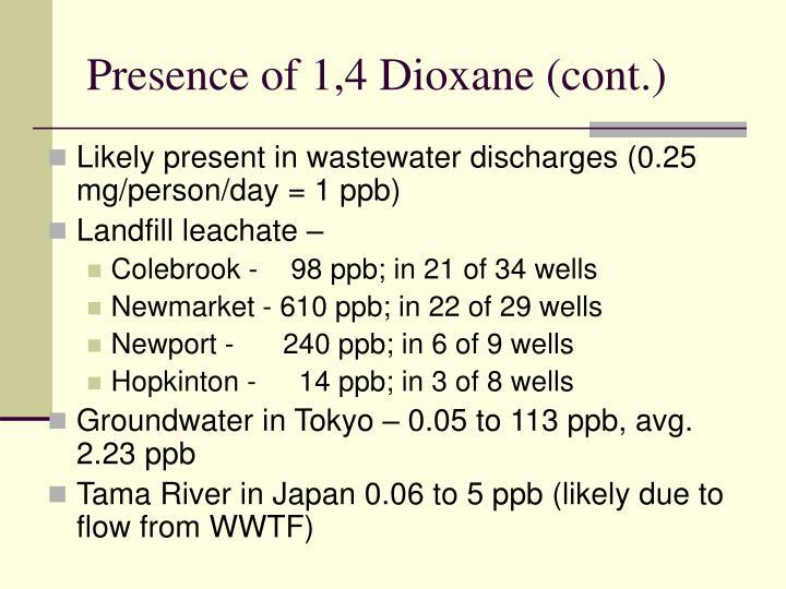 Presence of 1,4 Dioxane (cont.)