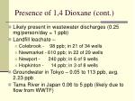 presence of 1 4 dioxane cont