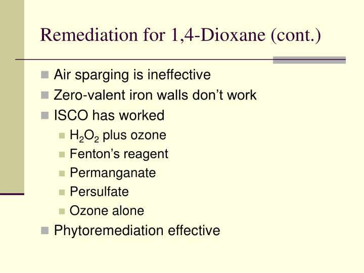 Remediation for 1,4-Dioxane (cont.)