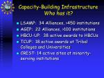 capacity building infrastructure who has it