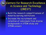 centers for research excellence in science and technology crest