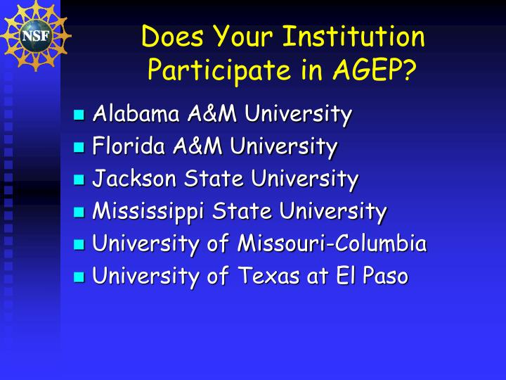 Does Your Institution Participate in AGEP?