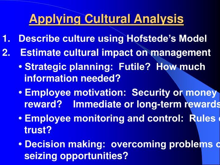 Applying Cultural Analysis