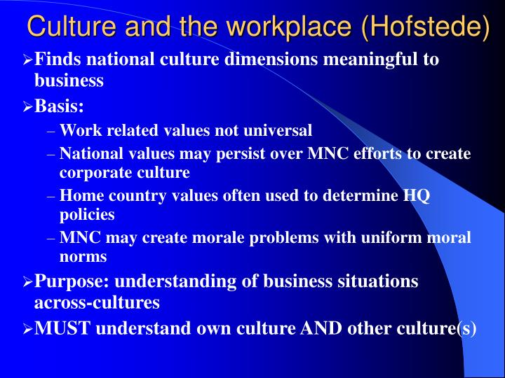 Culture and the workplace (Hofstede)
