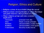 religion ethics and culture