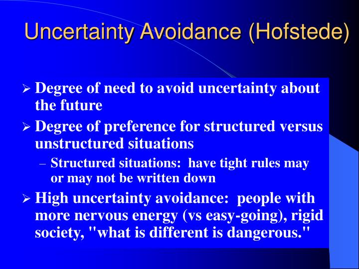 Uncertainty Avoidance (Hofstede)