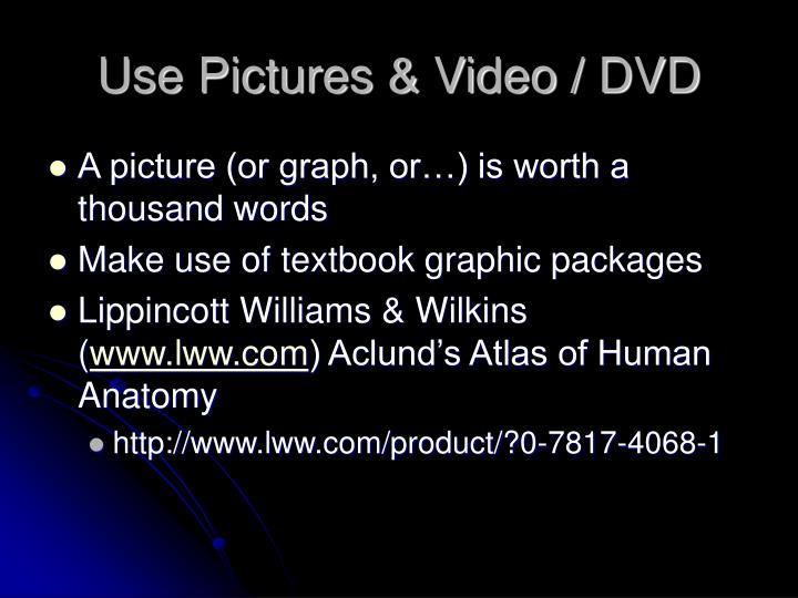 Use Pictures & Video / DVD