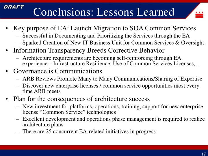 Key purpose of EA: Launch Migration to SOA Common Services