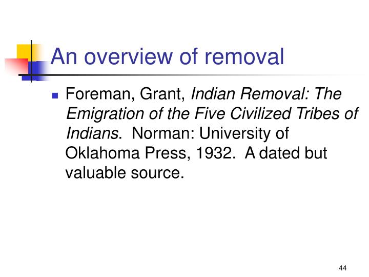 An overview of removal