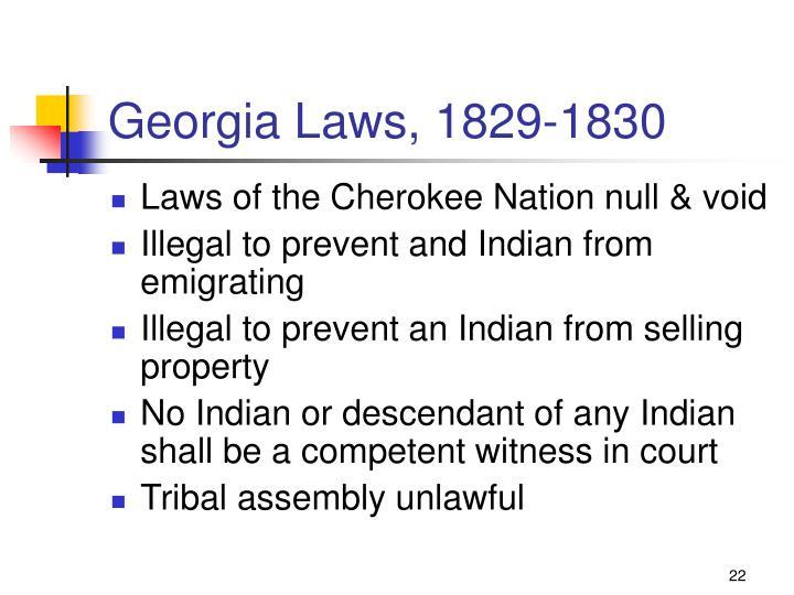 Georgia Laws, 1829-1830
