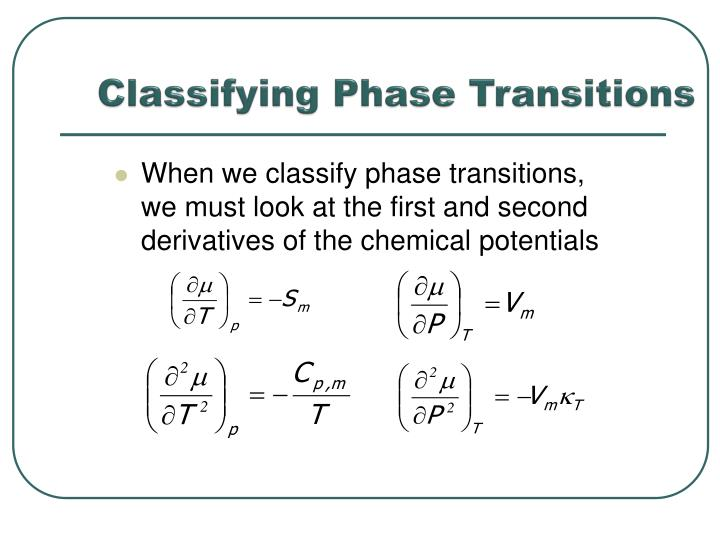 Classifying Phase Transitions