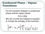 condensed phase vapour transitions