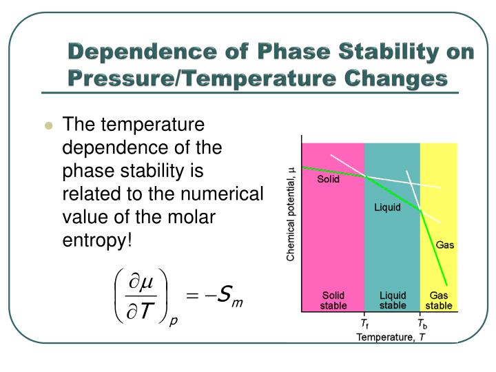 Dependence of Phase Stability on Pressure/Temperature Changes