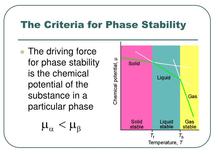 The driving force for phase stability is the chemical potential of the substance in a particular phase
