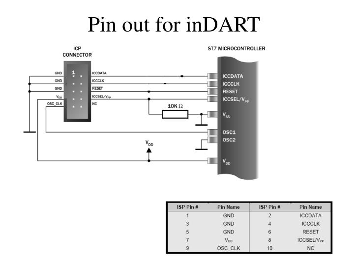 Pin out for inDART