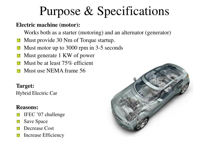 Purpose specifications