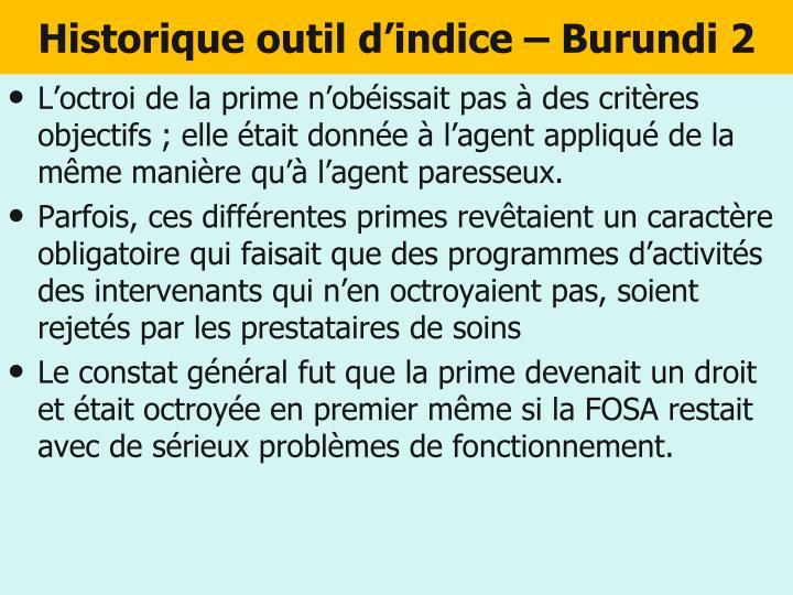 Historique outil d'indice – Burundi 2