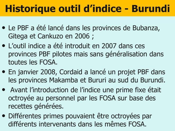 Historique outil d'indice - Burundi
