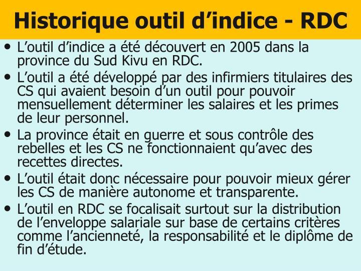 Historique outil d'indice - RDC
