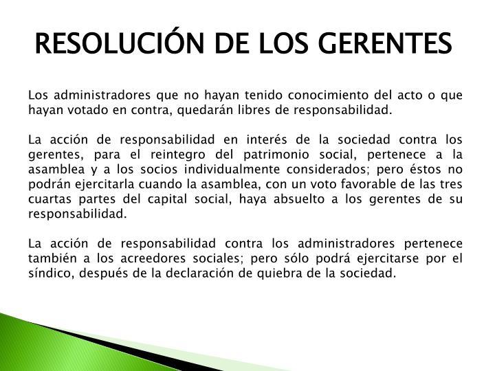 RESOLUCIÓN DE LOS GERENTES