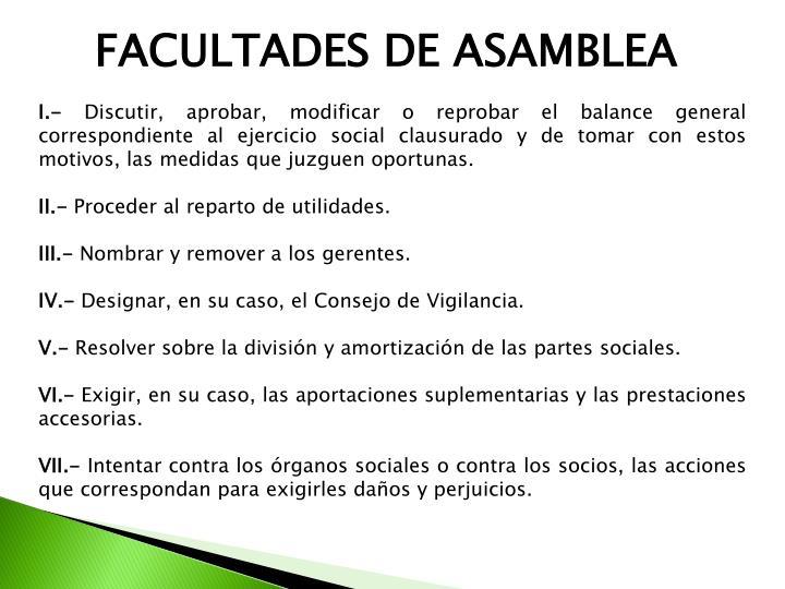 FACULTADES DE ASAMBLEA