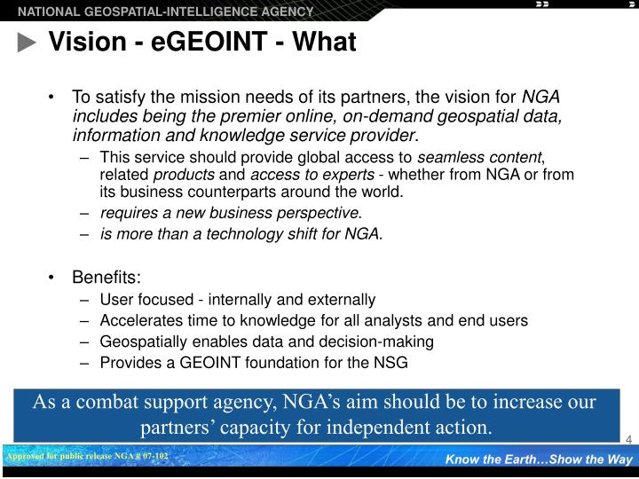 Vision - eGEOINT - What