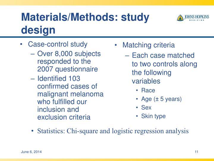 Materials/Methods: study