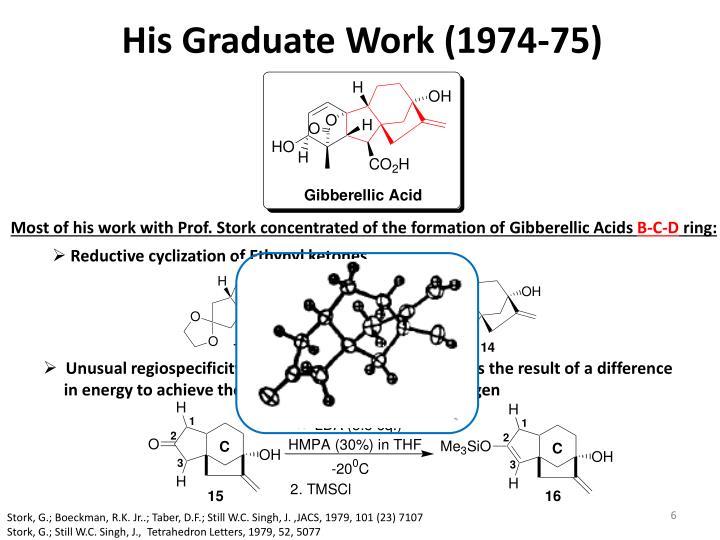 His Graduate Work (1974-75)