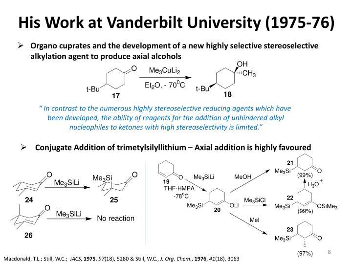 His Work at Vanderbilt University (1975-76)