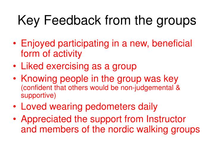 Key Feedback from the groups