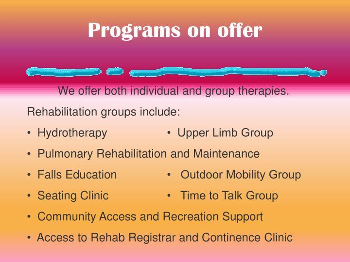 Programs on offer