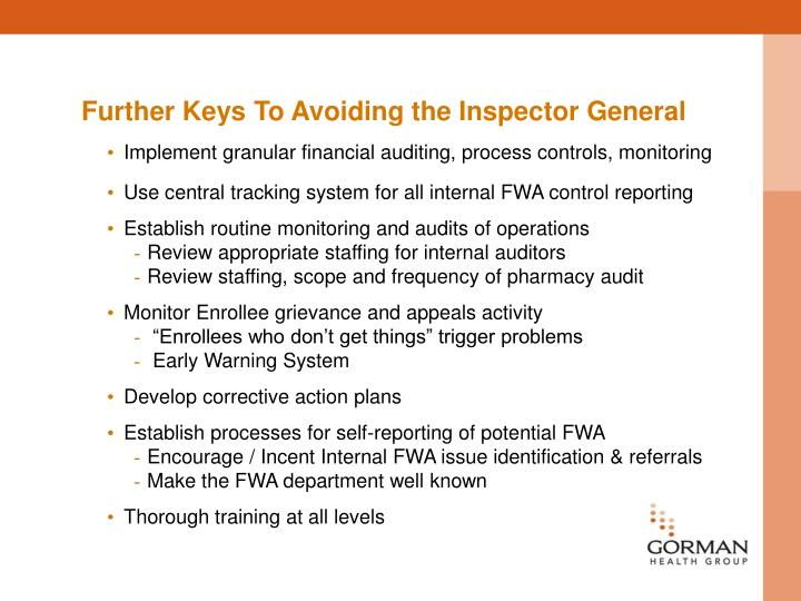 Further Keys To Avoiding the Inspector General