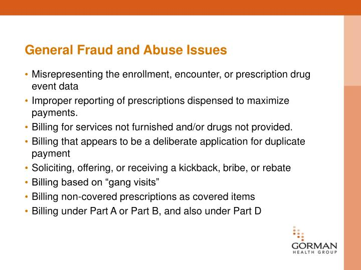 General Fraud and Abuse Issues