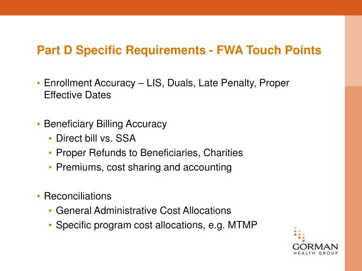 Part D Specific Requirements - FWA Touch Points