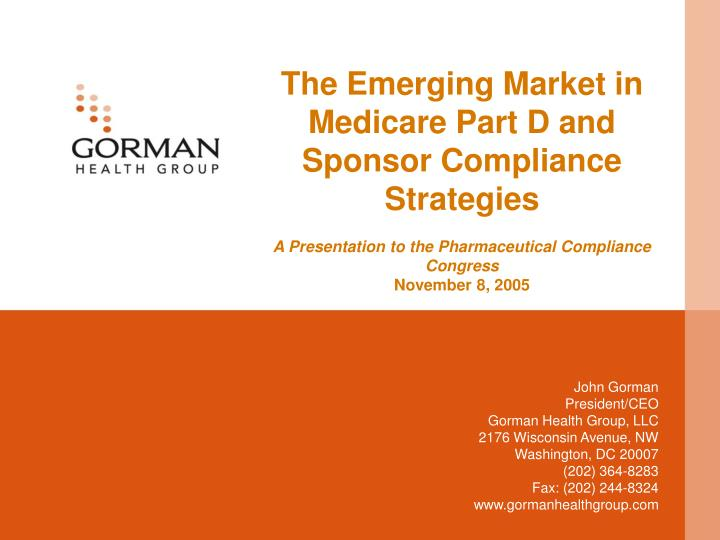 The Emerging Market in Medicare Part D and Sponsor Compliance Strategies