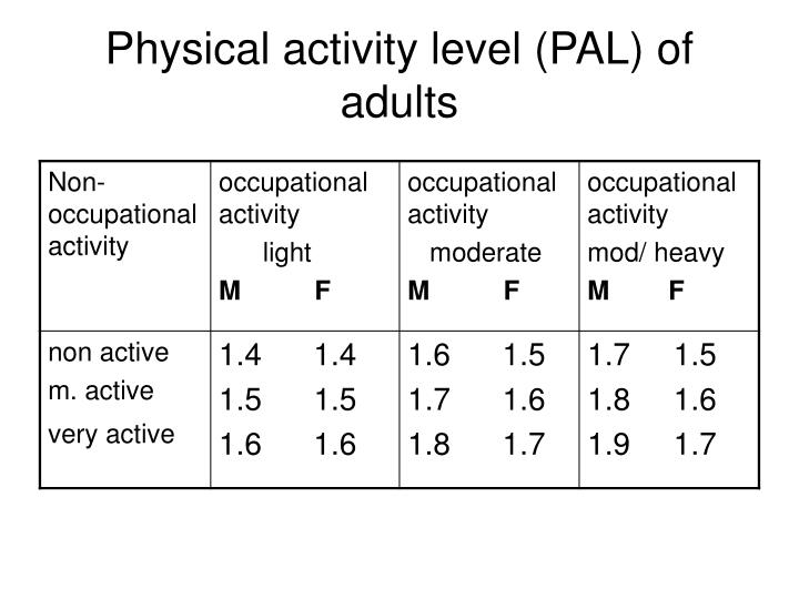 Physical activity level (PAL) of adults