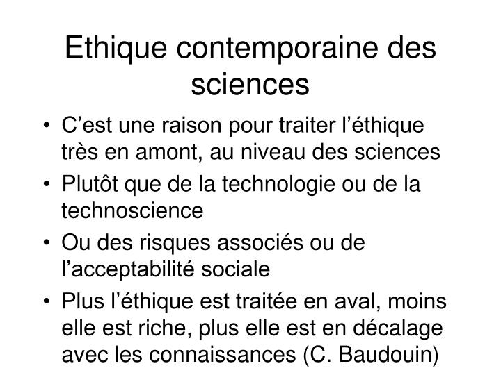 Ethique contemporaine des sciences