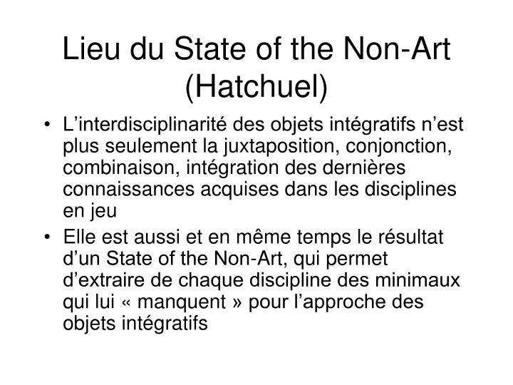 Lieu du State of the Non-Art (Hatchuel)