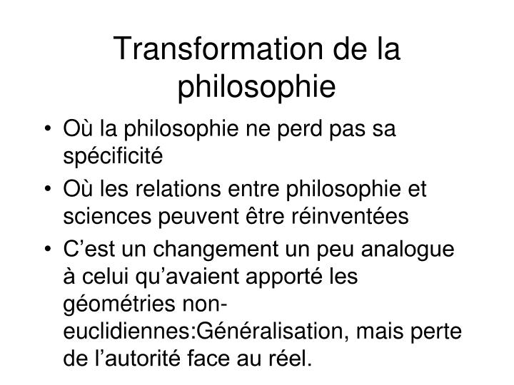Transformation de la philosophie