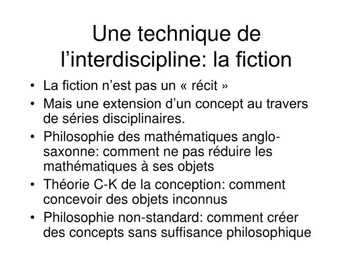 Une technique de l'interdiscipline: la fiction