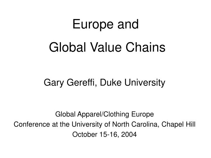 europe and global value chains