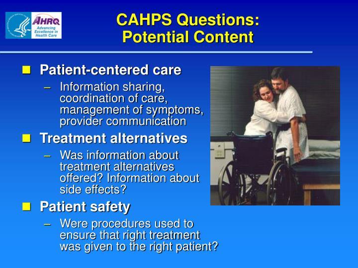 CAHPS Questions: