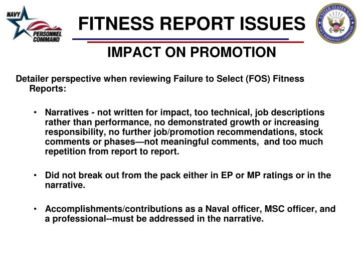 FITNESS REPORT ISSUES