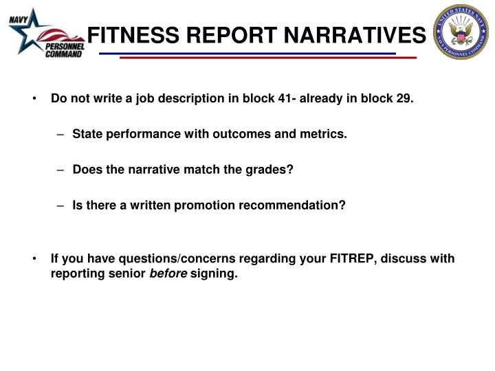 FITNESS REPORT NARRATIVES